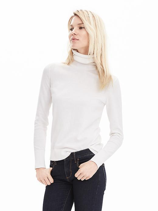 Pima Cotton Cashmere Turtleneck Sweater White - pattern: plain; neckline: roll neck; style: standard; predominant colour: white; occasions: casual; length: standard; fibres: cotton - 100%; fit: slim fit; sleeve length: long sleeve; sleeve style: standard; texture group: knits/crochet; pattern type: fabric; season: s/s 2016; wardrobe: basic