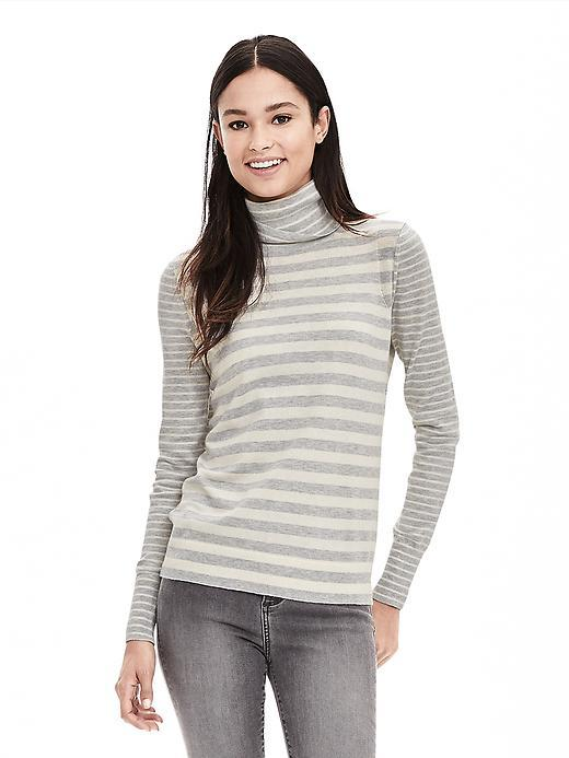 Striped Pima Cotton Cashmere Turtleneck Sweater Gray - pattern: horizontal stripes; length: below the bottom; neckline: roll neck; style: standard; secondary colour: ivory/cream; predominant colour: light grey; occasions: casual, creative work; fit: standard fit; sleeve length: long sleeve; sleeve style: standard; texture group: knits/crochet; pattern type: knitted - fine stitch; pattern size: standard; fibres: cashmere - mix; season: s/s 2016; wardrobe: highlight