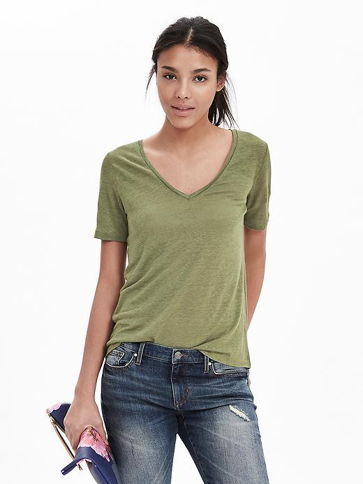 Linen Vee Iguana Green - neckline: low v-neck; pattern: plain; style: t-shirt; predominant colour: khaki; occasions: casual; length: standard; fibres: linen - 100%; fit: body skimming; sleeve length: short sleeve; sleeve style: standard; pattern type: fabric; texture group: jersey - stretchy/drapey; season: s/s 2016; wardrobe: basic