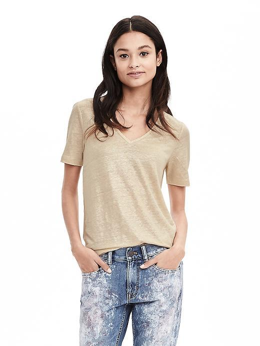 Metallic Linen Vee Stone Twill - neckline: low v-neck; style: t-shirt; predominant colour: gold; occasions: casual; length: standard; fibres: linen - mix; fit: body skimming; sleeve length: short sleeve; sleeve style: standard; pattern type: fabric; pattern size: light/subtle; texture group: jersey - stretchy/drapey; pattern: marl; season: s/s 2016; wardrobe: highlight