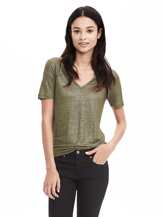 Metallic Linen Vee Dark Cypress - neckline: low v-neck; style: t-shirt; predominant colour: khaki; secondary colour: gold; occasions: casual; length: standard; fibres: linen - mix; fit: loose; sleeve length: short sleeve; sleeve style: standard; pattern type: fabric; pattern size: light/subtle; texture group: jersey - stretchy/drapey; pattern: marl; season: s/s 2016; wardrobe: highlight