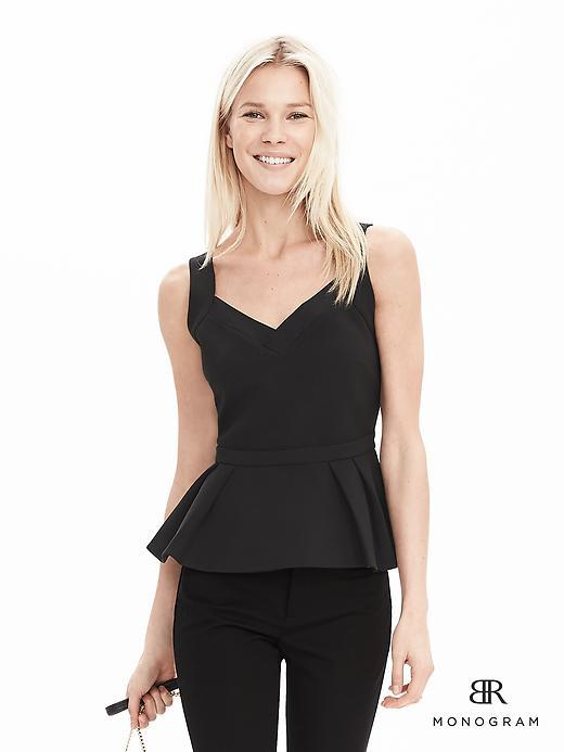 Br Monogram Black - neckline: v-neck; pattern: plain; sleeve style: sleeveless; waist detail: peplum waist detail; predominant colour: black; occasions: evening; length: standard; style: top; fibres: polyester/polyamide - stretch; fit: tight; sleeve length: sleeveless; texture group: jersey - clingy; pattern type: fabric; season: s/s 2016; wardrobe: event