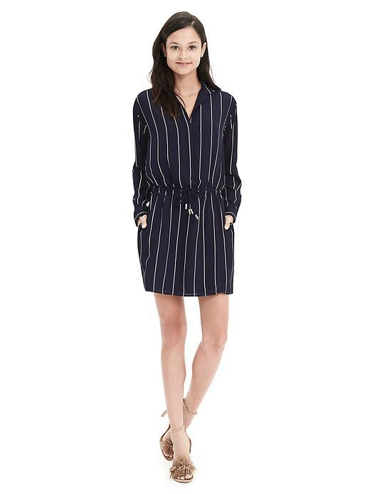 Pinstripe Shirtdress Preppy Navy - style: shift; length: mid thigh; neckline: v-neck; pattern: pinstripe; waist detail: belted waist/tie at waist/drawstring; predominant colour: navy; secondary colour: light grey; occasions: casual, creative work; fit: body skimming; fibres: polyester/polyamide - 100%; sleeve length: long sleeve; sleeve style: standard; texture group: crepes; pattern type: fabric; season: s/s 2016; wardrobe: highlight