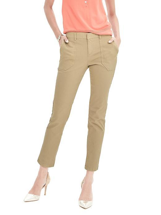 Sloan Fit Garment Dye Utility Ankle Pant Workwear Khaki - pattern: plain; pocket detail: small back pockets, pockets at the sides; waist: mid/regular rise; predominant colour: stone; occasions: casual, creative work; length: ankle length; fibres: cotton - stretch; fit: slim leg; pattern type: fabric; texture group: woven light midweight; style: standard; season: s/s 2016; wardrobe: basic