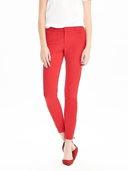 Sloan Fit Slim Ankle Pant Red Glow - pattern: plain; pocket detail: traditional 5 pocket; waist: mid/regular rise; predominant colour: true red; occasions: casual, creative work; length: ankle length; fit: skinny/tight leg; pattern type: fabric; texture group: other - light to midweight; style: standard; fibres: viscose/rayon - mix; season: s/s 2016; wardrobe: highlight