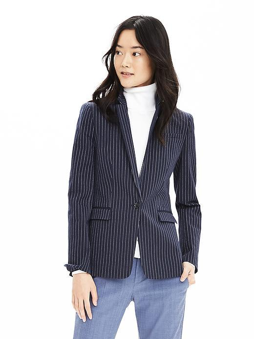 Pinstripe One Button Blazer Preppy Navy - pattern: plain; style: single breasted blazer; collar: standard lapel/rever collar; predominant colour: navy; occasions: work; length: standard; fit: tailored/fitted; fibres: cotton - mix; sleeve length: long sleeve; sleeve style: standard; collar break: medium; pattern type: fabric; texture group: woven light midweight; season: s/s 2016; wardrobe: investment