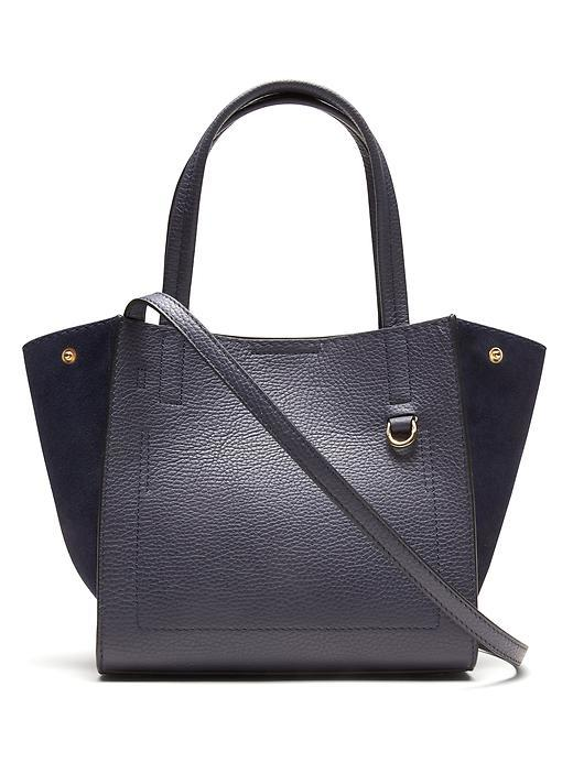 Pebbled Italian Leather Mini Tote Navy - predominant colour: navy; occasions: casual, creative work; type of pattern: standard; style: tote; length: handle; size: standard; material: leather; pattern: plain; finish: plain; season: s/s 2016; wardrobe: investment