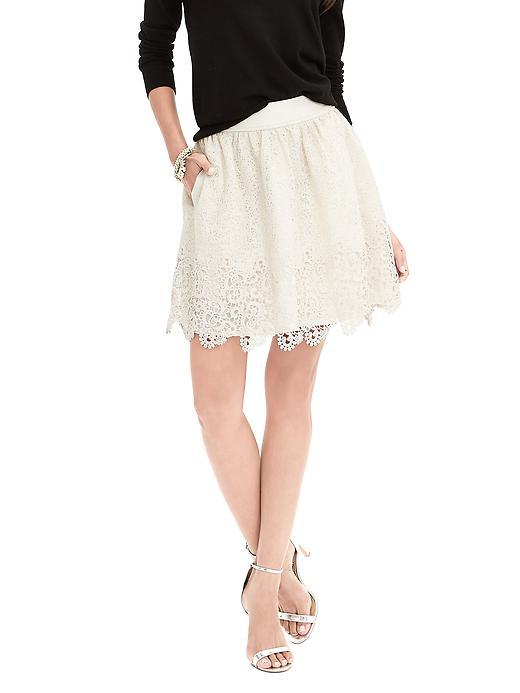 Heritage Lace Fit And Flare Skirt Transition Cream - style: full/prom skirt; fit: loose/voluminous; waist: high rise; predominant colour: ivory/cream; occasions: evening, occasion; length: just above the knee; fibres: polyester/polyamide - 100%; waist detail: feature waist detail; texture group: lace; pattern type: fabric; pattern: patterned/print; embellishment: lace; season: s/s 2016; wardrobe: event; embellishment location: all over