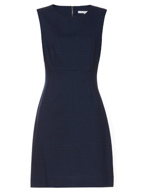 Carrie Dress - style: shift; pattern: plain; sleeve style: sleeveless; predominant colour: navy; occasions: evening, work, occasion; length: just above the knee; fit: soft a-line; fibres: polyester/polyamide - 100%; neckline: crew; sleeve length: sleeveless; pattern type: fabric; texture group: woven light midweight; season: s/s 2016