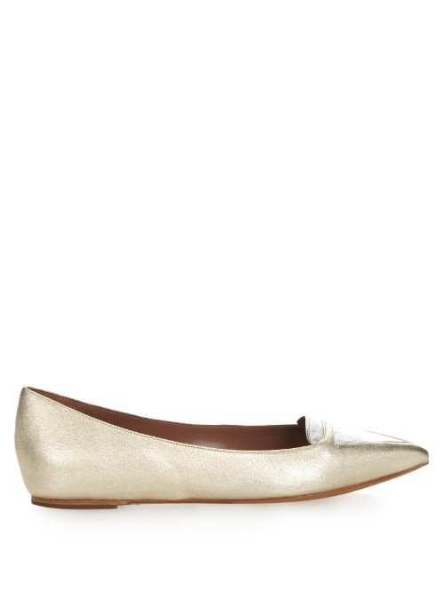 Alexa Bi Colour Metallic Leather Flats - predominant colour: gold; occasions: casual, creative work; material: leather; heel height: flat; toe: pointed toe; style: ballerinas / pumps; finish: metallic; pattern: plain; season: s/s 2016; wardrobe: basic