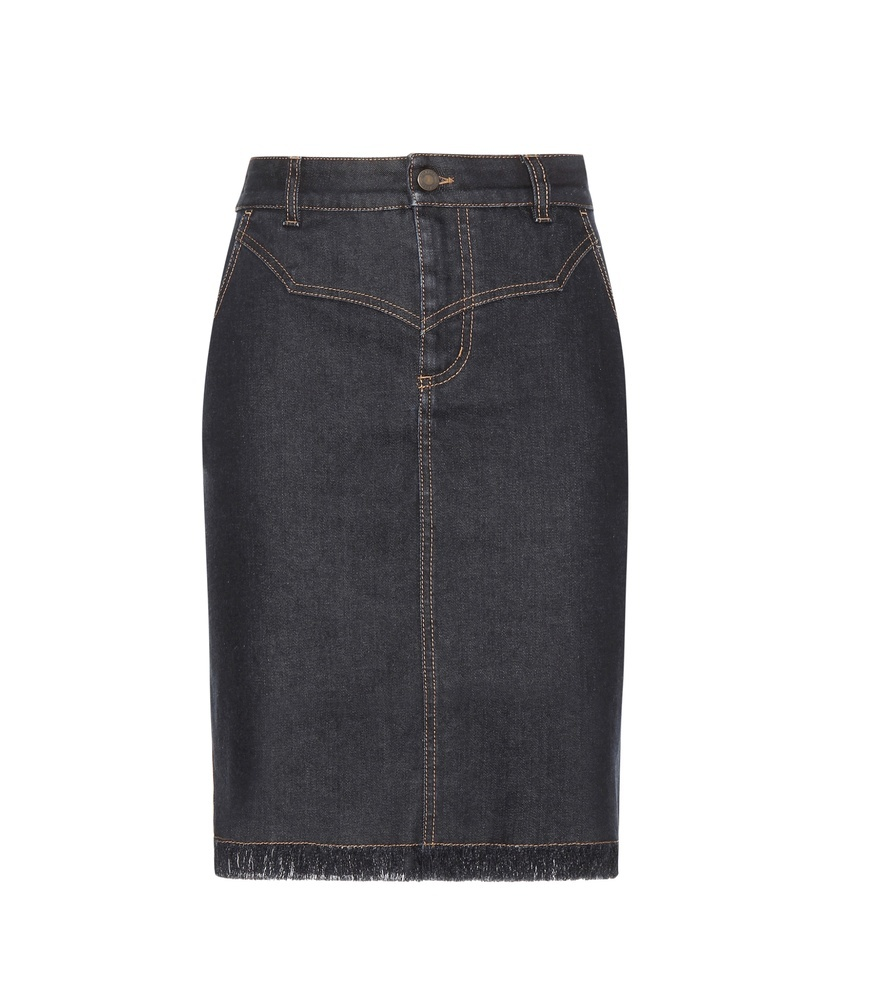 Denim Skirt - pattern: plain; style: pencil; fit: tailored/fitted; waist: high rise; hip detail: draws attention to hips; predominant colour: denim; occasions: casual; length: on the knee; fibres: cotton - stretch; texture group: denim; pattern type: fabric; season: s/s 2016; wardrobe: basic