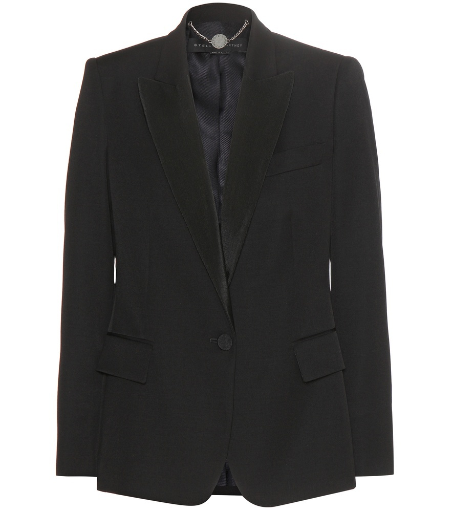 Wool Blazer - pattern: plain; style: single breasted blazer; length: below the bottom; collar: standard lapel/rever collar; predominant colour: black; occasions: work; fit: tailored/fitted; fibres: wool - 100%; sleeve length: long sleeve; sleeve style: standard; collar break: low/open; pattern type: fabric; texture group: woven light midweight; season: s/s 2016