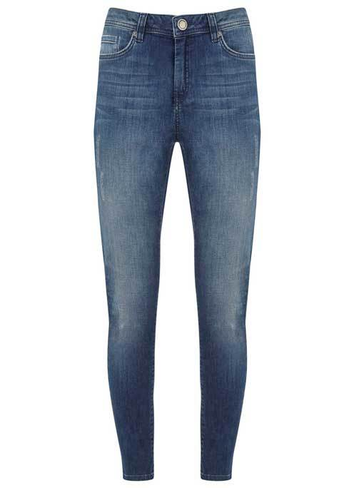 Everett Lightweight Skinny Jean - style: skinny leg; length: standard; pattern: plain; waist: high rise; pocket detail: traditional 5 pocket; predominant colour: navy; occasions: casual; fibres: cotton - stretch; jeans detail: shading down centre of thigh; texture group: denim; pattern type: fabric; season: s/s 2016; wardrobe: basic