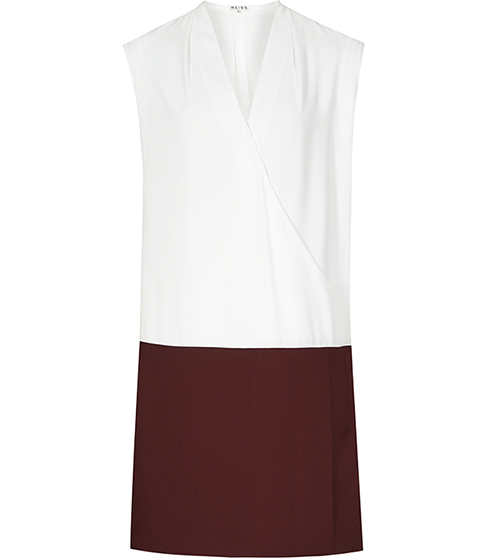 Harlow Bi Colour Wrap Dress - style: faux wrap/wrap; length: mid thigh; neckline: v-neck; sleeve style: sleeveless; predominant colour: white; secondary colour: burgundy; occasions: evening; fit: body skimming; fibres: polyester/polyamide - 100%; sleeve length: sleeveless; pattern type: fabric; pattern: colourblock; texture group: other - light to midweight; multicoloured: multicoloured; season: s/s 2016; wardrobe: event