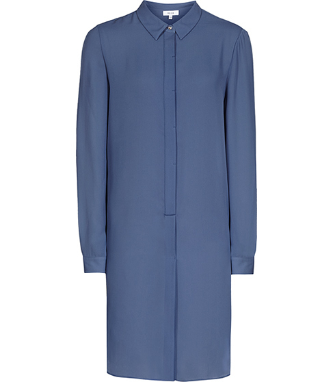 Chelsea Longline Shirt Dress - style: shirt; length: mid thigh; neckline: shirt collar/peter pan/zip with opening; pattern: plain; predominant colour: denim; occasions: casual; fit: body skimming; fibres: polyester/polyamide - 100%; sleeve length: long sleeve; sleeve style: standard; texture group: crepes; pattern type: fabric; season: s/s 2016; wardrobe: highlight