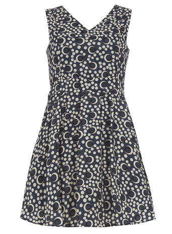 Womens **Mela Navy Circle Printed Dress Blue - neckline: v-neck; sleeve style: sleeveless; secondary colour: white; predominant colour: navy; occasions: casual; length: just above the knee; fit: fitted at waist & bust; style: fit & flare; fibres: polyester/polyamide - 100%; sleeve length: sleeveless; pattern type: fabric; pattern: patterned/print; texture group: jersey - stretchy/drapey; multicoloured: multicoloured; season: s/s 2016; wardrobe: highlight
