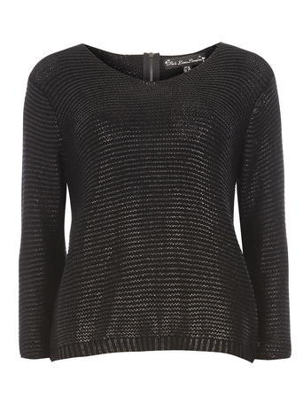 Womens **Mela Black Metallic Jumper Black - neckline: v-neck; pattern: plain; style: standard; predominant colour: black; occasions: casual; length: standard; fibres: acrylic - mix; fit: slim fit; sleeve length: long sleeve; sleeve style: standard; texture group: knits/crochet; pattern type: knitted - other; season: s/s 2016; wardrobe: basic