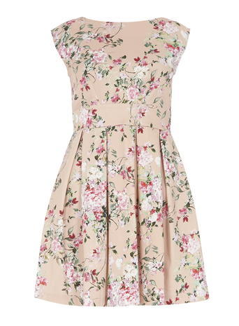 Womens **Closet Pink Blossom Tie Back Dress Pink - length: mid thigh; neckline: slash/boat neckline; sleeve style: capped; secondary colour: white; predominant colour: nude; occasions: casual; fit: fitted at waist & bust; style: fit & flare; fibres: cotton - stretch; sleeve length: short sleeve; pattern type: fabric; pattern: florals; texture group: jersey - stretchy/drapey; multicoloured: multicoloured; season: s/s 2016; wardrobe: highlight