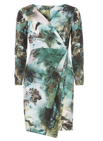 Womens **Closet Printed Wrap Dress Multi Colour - style: faux wrap/wrap; neckline: v-neck; sleeve style: sleeveless; predominant colour: white; secondary colour: teal; occasions: evening; length: just above the knee; fit: body skimming; fibres: polyester/polyamide - stretch; sleeve length: long sleeve; pattern type: fabric; pattern: florals; texture group: jersey - stretchy/drapey; multicoloured: multicoloured; season: s/s 2016; wardrobe: event