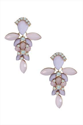 Pastel Pink Effect Drop 2 In 1 Statement Earrings - predominant colour: lilac; occasions: evening, occasion; style: drop; length: mid; size: large/oversized; material: chain/metal; fastening: pierced; finish: metallic; embellishment: jewels/stone; season: s/s 2016; wardrobe: event