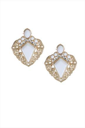 Gold Tone White Diamond Point Statement Earrings - secondary colour: white; predominant colour: gold; occasions: evening, occasion; style: stud; length: short; size: small/fine; material: chain/metal; fastening: pierced; finish: metallic; embellishment: crystals/glass; season: s/s 2016; wardrobe: event