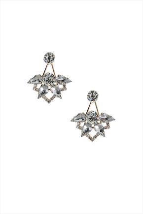 Gold Tone Crystal Statement Back Drop Stud Earrings - predominant colour: silver; occasions: evening, occasion; style: drop; length: mid; size: standard; material: chain/metal; fastening: pierced; finish: metallic; embellishment: crystals/glass; season: s/s 2016; wardrobe: event
