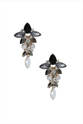 Black & White Drop Statement Earrings - secondary colour: silver; predominant colour: black; occasions: evening, occasion; style: drop; length: mid; size: large/oversized; material: chain/metal; fastening: pierced; finish: metallic; embellishment: jewels/stone; season: s/s 2016; wardrobe: event