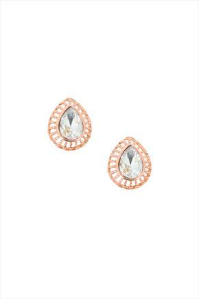 Rose Gold Tone Oval Surround Crystal Stud Earrings - predominant colour: gold; occasions: evening, occasion; style: stud; length: short; size: small/fine; material: plastic/rubber; fastening: pierced; finish: metallic; embellishment: crystals/glass; season: s/s 2016