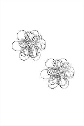 Silver Flower Stud Earrings - predominant colour: silver; occasions: evening, occasion; style: stud; length: short; size: small/fine; material: chain/metal; fastening: pierced; finish: metallic; season: s/s 2016