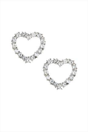 Silver Heart Stud Earrings - predominant colour: silver; occasions: evening, occasion; style: stud; length: short; size: small/fine; material: chain/metal; fastening: pierced; finish: metallic; embellishment: crystals/glass; season: s/s 2016; wardrobe: event