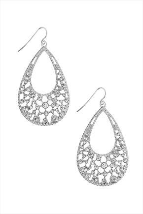 Silver Tear Drop Diamanté Earrings - predominant colour: silver; occasions: evening, occasion; style: hoop; length: long; size: standard; material: chain/metal; fastening: pierced; finish: metallic; season: s/s 2016; wardrobe: event