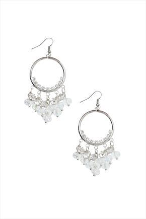 Silver Beaded Hoop Earring - predominant colour: silver; occasions: evening, occasion; style: chandelier; length: short; size: standard; material: chain/metal; fastening: pierced; finish: metallic; season: s/s 2016