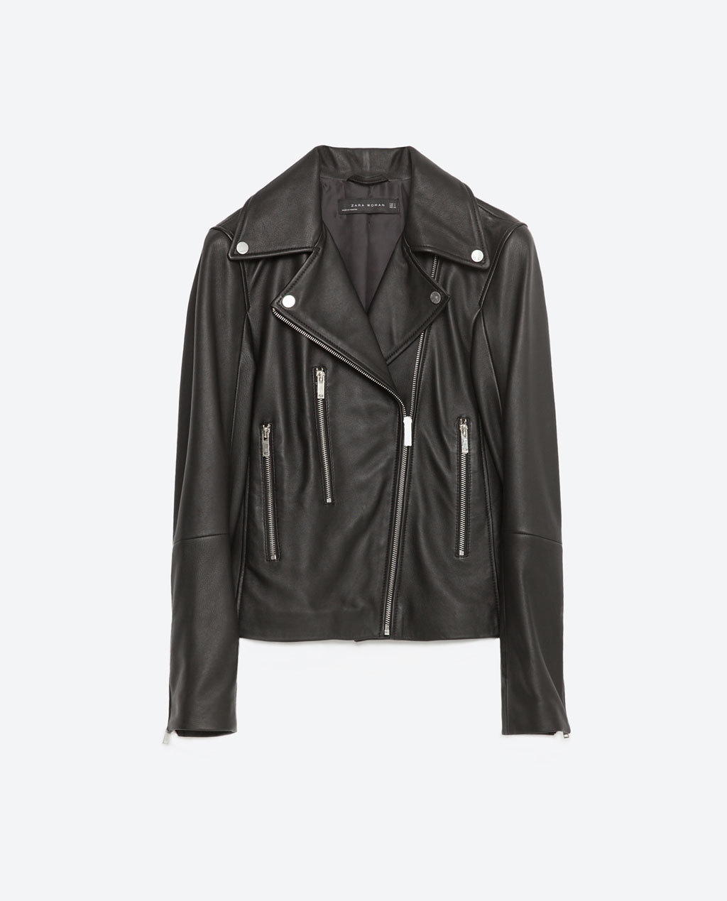 Leather Jacket - pattern: plain; style: biker; collar: asymmetric biker; predominant colour: black; length: standard; fit: straight cut (boxy); fibres: leather - 100%; sleeve length: long sleeve; sleeve style: standard; texture group: leather; collar break: medium; pattern type: fabric; occasions: creative work; season: s/s 2016; wardrobe: highlight