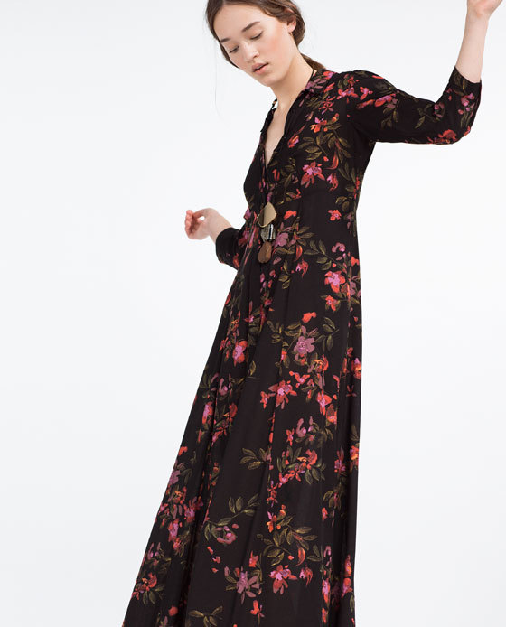 Long Dress With Floral Print - neckline: v-neck; style: maxi dress; secondary colour: true red; predominant colour: black; occasions: evening; length: floor length; fit: body skimming; fibres: viscose/rayon - 100%; sleeve length: 3/4 length; sleeve style: standard; pattern type: fabric; pattern: florals; texture group: jersey - stretchy/drapey; multicoloured: multicoloured; season: s/s 2016; wardrobe: event