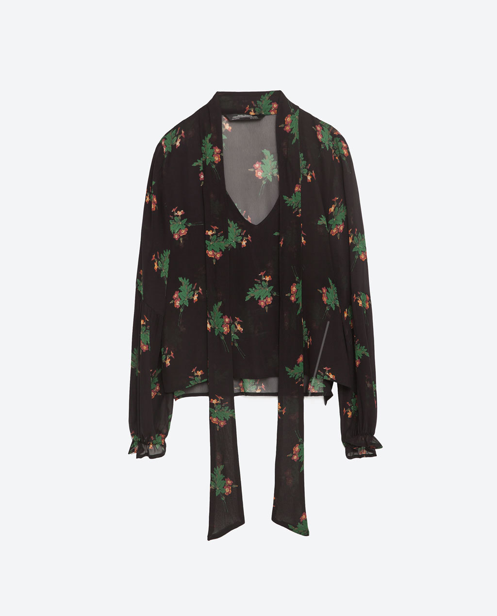 Floral Print Blouse - neckline: pussy bow; style: blouse; secondary colour: emerald green; predominant colour: black; occasions: casual; length: standard; fibres: viscose/rayon - 100%; fit: body skimming; sleeve length: long sleeve; sleeve style: standard; texture group: sheer fabrics/chiffon/organza etc.; hip detail: ruffles/tiers/tie detail at hip; pattern type: fabric; pattern: florals; multicoloured: multicoloured; season: s/s 2016