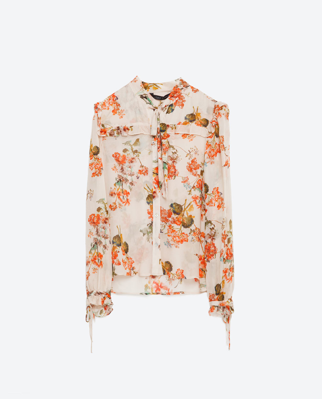Printed Blouse - neckline: v-neck; style: blouse; predominant colour: ivory/cream; secondary colour: bright orange; occasions: casual; length: standard; fibres: viscose/rayon - 100%; fit: body skimming; sleeve length: long sleeve; sleeve style: standard; texture group: sheer fabrics/chiffon/organza etc.; pattern type: fabric; pattern: florals; multicoloured: multicoloured; season: s/s 2016; wardrobe: highlight