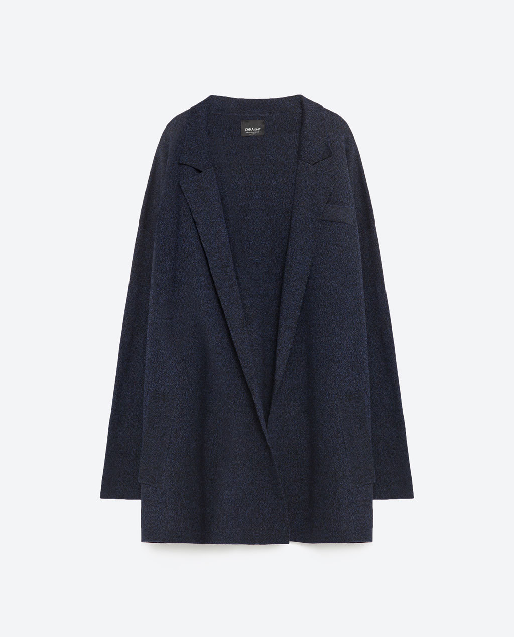 Oversized Cardigan - neckline: low v-neck; pattern: plain; length: below the bottom; style: open front; predominant colour: navy; occasions: casual; fibres: polyester/polyamide - mix; fit: loose; sleeve length: long sleeve; sleeve style: standard; texture group: knits/crochet; pattern type: fabric; season: s/s 2016; wardrobe: basic