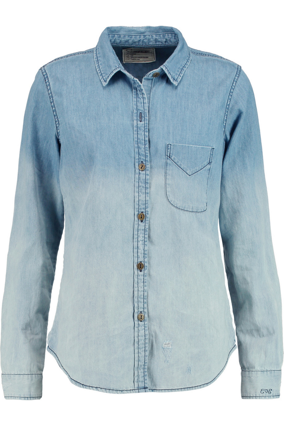 The Slim Boy Ombré Chambray Shirt Sky Blue - neckline: shirt collar/peter pan/zip with opening; pattern: plain; style: shirt; predominant colour: denim; occasions: casual; length: standard; fibres: cotton - 100%; fit: body skimming; sleeve length: long sleeve; sleeve style: standard; texture group: denim; pattern type: fabric; season: s/s 2016; wardrobe: basic
