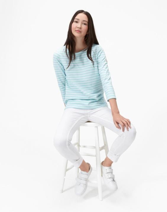 Calm Aqua Stripe Harbour Jersey Top Size 6 | Uk - neckline: round neck; pattern: horizontal stripes; secondary colour: white; predominant colour: turquoise; occasions: casual, creative work; length: standard; style: top; fibres: cotton - stretch; fit: body skimming; sleeve length: 3/4 length; sleeve style: standard; pattern type: fabric; pattern size: standard; texture group: jersey - stretchy/drapey; season: s/s 2016; wardrobe: highlight