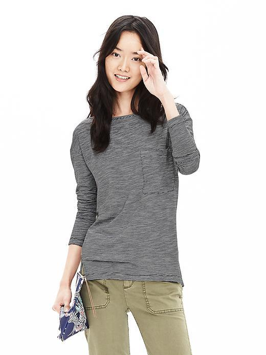 Relaxed Pocket Tee Gray - pattern: plain; style: t-shirt; predominant colour: mid grey; occasions: casual; length: standard; fibres: cotton - mix; fit: body skimming; neckline: crew; sleeve length: long sleeve; sleeve style: standard; pattern type: fabric; texture group: jersey - stretchy/drapey; season: s/s 2016; wardrobe: basic
