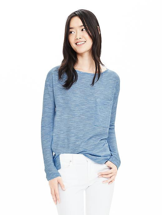 Relaxed Pocket Tee Atlantic Blue - neckline: round neck; pattern: plain; style: t-shirt; predominant colour: denim; occasions: casual, creative work; length: standard; fibres: cotton - mix; fit: body skimming; sleeve length: long sleeve; sleeve style: standard; pattern type: fabric; texture group: jersey - stretchy/drapey; season: s/s 2016; wardrobe: highlight
