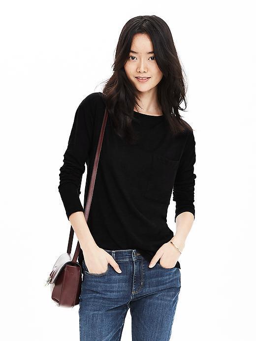 Slubbed Pocket Tee Black - neckline: round neck; pattern: plain; style: t-shirt; predominant colour: black; occasions: casual; length: standard; fibres: cotton - stretch; fit: body skimming; sleeve length: 3/4 length; sleeve style: standard; texture group: jersey - clingy; pattern type: fabric; season: s/s 2016; wardrobe: basic