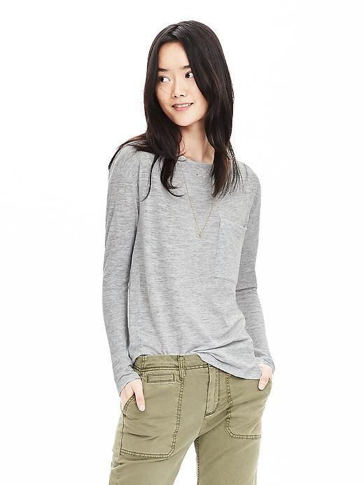 Slubbed Pocket Tee Heather Gray - pattern: plain; style: t-shirt; predominant colour: light grey; occasions: casual; length: standard; fibres: cotton - mix; fit: body skimming; neckline: crew; sleeve length: long sleeve; sleeve style: standard; pattern type: fabric; texture group: jersey - stretchy/drapey; season: s/s 2016; wardrobe: basic