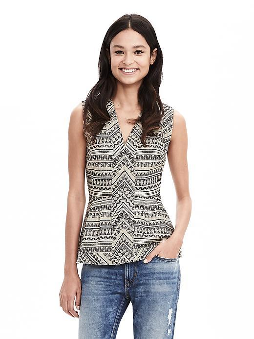 Jacquard Peplum Tank Cream - neckline: v-neck; secondary colour: ivory/cream; predominant colour: light grey; occasions: evening; length: standard; style: top; fibres: cotton - mix; fit: tight; sleeve length: sleeveless; sleeve style: standard; pattern type: fabric; pattern: patterned/print; texture group: brocade/jacquard; multicoloured: multicoloured; season: s/s 2016; wardrobe: event