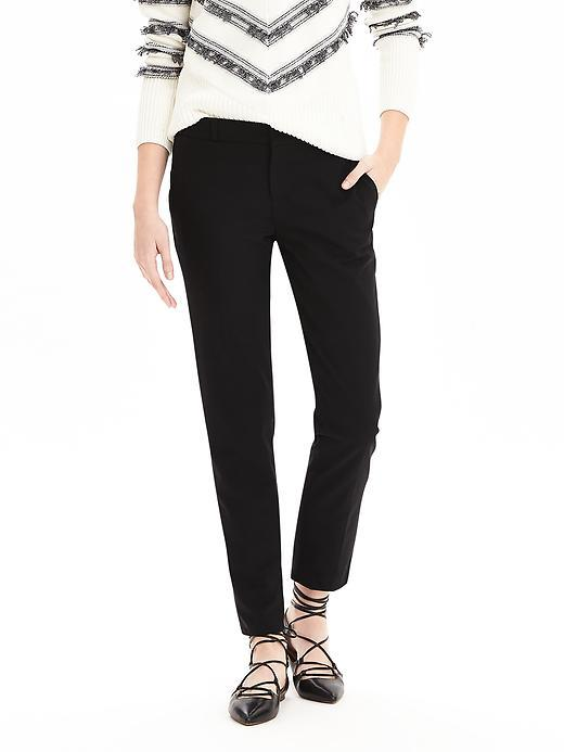 Avery Fit Black Lightweight Wool Crop Black - length: standard; pattern: plain; waist: mid/regular rise; predominant colour: black; occasions: casual, creative work; fibres: wool - stretch; fit: slim leg; pattern type: fabric; texture group: woven light midweight; style: standard; season: s/s 2016; wardrobe: basic