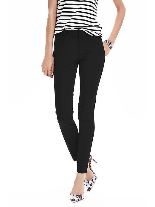 Sloan Fit Slim Ankle Pant Black - length: standard; pattern: plain; waist: mid/regular rise; predominant colour: black; occasions: casual, creative work; fibres: viscose/rayon - stretch; fit: slim leg; pattern type: fabric; texture group: woven light midweight; style: standard; season: s/s 2016; wardrobe: basic