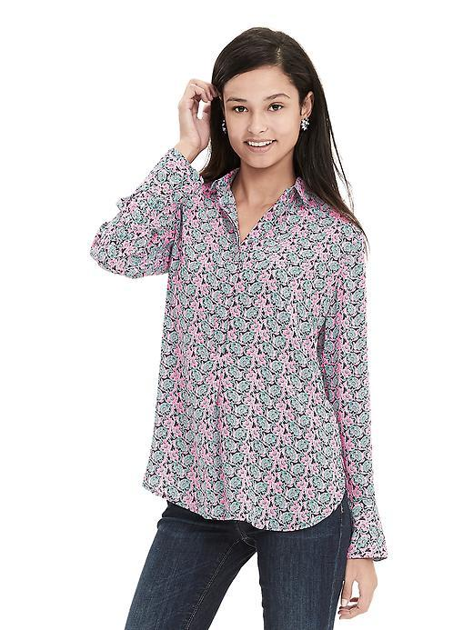 Batik Popover Blouse Navy - neckline: shirt collar/peter pan/zip with opening; style: shirt; predominant colour: pink; secondary colour: pistachio; occasions: casual; length: standard; fibres: polyester/polyamide - 100%; fit: body skimming; sleeve length: long sleeve; sleeve style: standard; pattern type: fabric; pattern: florals; texture group: woven light midweight; multicoloured: multicoloured; season: s/s 2016; wardrobe: highlight