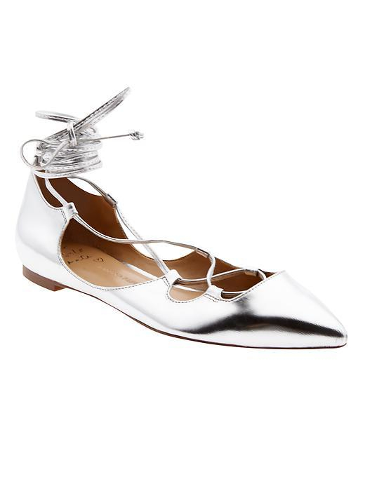 Allie Lace Up Flat Silver - predominant colour: silver; occasions: casual, creative work; material: leather; heel height: flat; ankle detail: ankle tie; toe: pointed toe; style: ballerinas / pumps; finish: metallic; pattern: plain; season: s/s 2016; wardrobe: basic