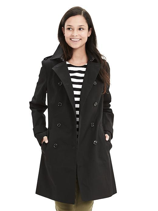 Classic Trench Black - pattern: plain; shoulder detail: obvious epaulette; style: trench coat; collar: standard lapel/rever collar; length: mid thigh; predominant colour: black; occasions: casual, work, creative work; fit: straight cut (boxy); fibres: cotton - 100%; sleeve length: long sleeve; sleeve style: standard; texture group: cotton feel fabrics; collar break: medium; pattern type: fabric; season: s/s 2016; wardrobe: basic