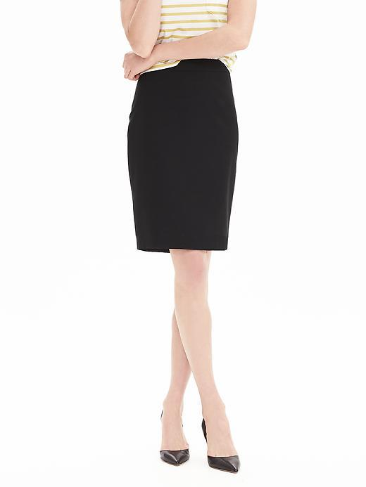 Black Lightweight Wool Pencil Skirt Black - pattern: plain; style: pencil; fit: tailored/fitted; waist: high rise; predominant colour: black; occasions: work; length: just above the knee; fibres: wool - stretch; pattern type: fabric; texture group: woven light midweight; season: s/s 2016; wardrobe: basic